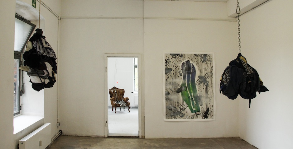 my painting, Fellipe's sculptures and Anna's chair installation